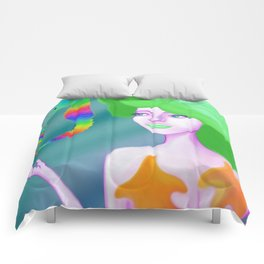 Mermaid with Rainbow Sea Horses Comforters