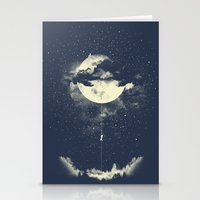 climbing Stationery Cards featuring MOON CLIMBING by los tomatos