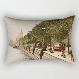 Vintage The Embankment, River Thames, London Rectangular Pillow