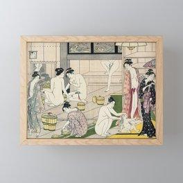 Interior of a Bathhouse by Torii Kiyonaga - Japanese Woodblock Framed Mini Art Print