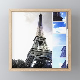 Eiffel Tower Paris in Black and White with Blue Stripe Framed Mini Art Print