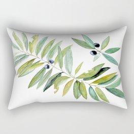 Leaves Berries Sage Green Turquiose Nature Art Floral Watercolor Rectangular Pillow