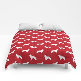 Cocker Spaniel red and white minimal modern pet art dog silhouette dog breeds pattern Comforters