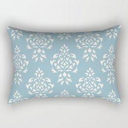 Crest Damask Repeat Pattern Cream on Blue Rectangular Pillow
