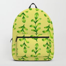 Green Watercolor Leaves Pattern on Yellow Backpack