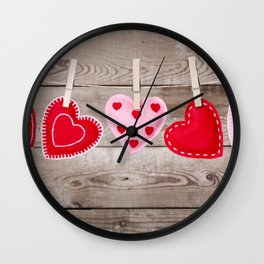 II - Clothesline with Valentine's Day hearts decorations on a rustic background Wall Clock