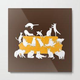 Cute cats on the yellow sofa | Brown Metal Print