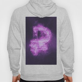 Russian Ruble symbol. Ruble Sign. Monetary currency symbol. Abstract night sky background. Hoody