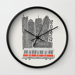 Boston City Illustration Wall Clock