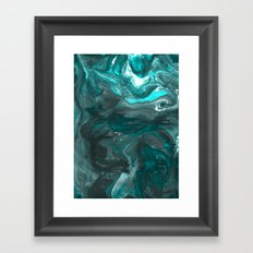 Dark Clouds Gathering - Teal & Grey Marbling Framed Art Print
