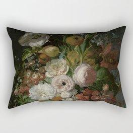 Rachel Ruysch - Still life with flowers in a glass vase (1690-1720) Rectangular Pillow