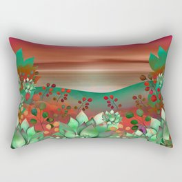 """Naif tropical colorful landscape"" Rectangular Pillow"