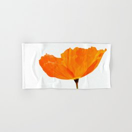 One And Only - Orange Poppy White Background #decor #society6#buyart Hand & Bath Towel