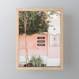 Pink Wall With Tree in Pondicherry, India | Travel Photography | Framed Mini Art Print
