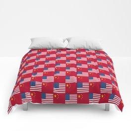 Mix of flag: usa and China Comforters