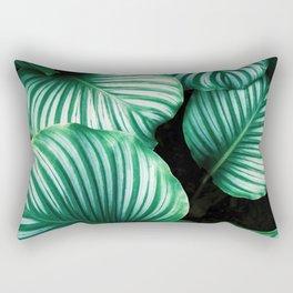 Modern Green leaf print Rectangular Pillow