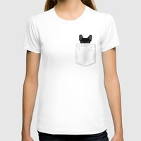 T-shirts featuring Pocket French Bulldog - Black by Anne Was Here