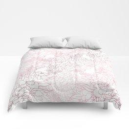 Elegant floral rose gold strokes doodles design Comforters