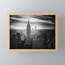 Empire State Building (Black and White) Framed Mini Art Print