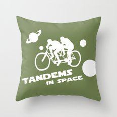 Tandems in Space in Green Throw Pillow