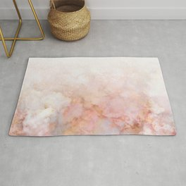 Beautiful Pink and Gold Ombre marble under snow Rug