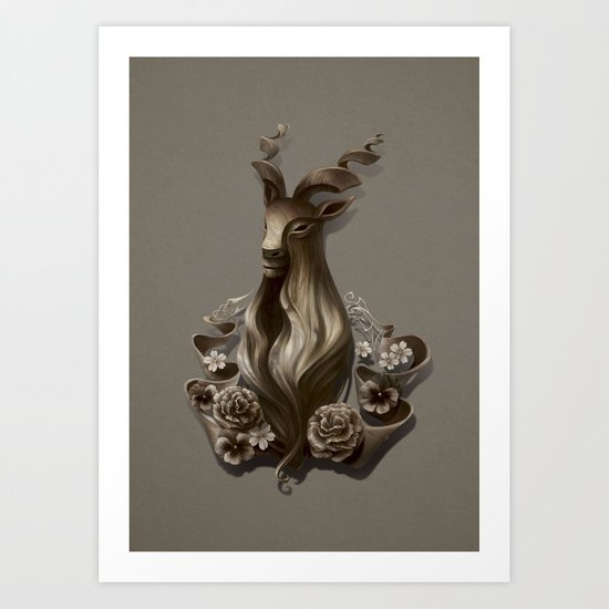 Wood Goat Art Print