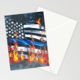 Blue Line In Flames Stationery Cards