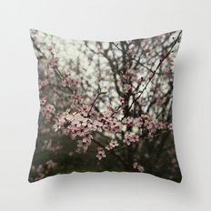 Pink spring blossom Throw Pillow