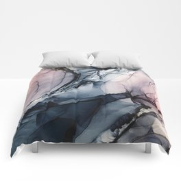 Blush, Navy and Gray Abstract Calm Clouds Comforters