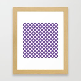 White Polka Dots with Purple Background Framed Art Print