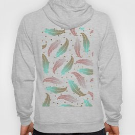 Bohemian pink teal gold glitter feathers polka dots Hoody