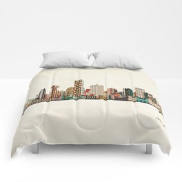 dallas skyline Comforters