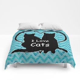 I Love Cats Silhouette Comforters