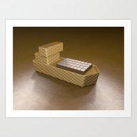 Chocolate Ship - 3D Art Art Print