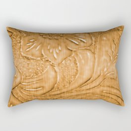 Golden Tan Tooled Leather Rectangular Pillow