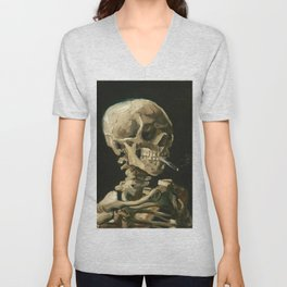 Skull of a Skeleton with Burning Cigarette by Vincent van Gogh Unisex V-Neck