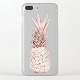 Rose Gold Pineapple on Black and White Marble Clear iPhone Case
