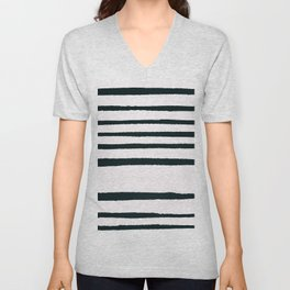 Abstract geometrical hand painted brushstrokes stripes Unisex V-Neck