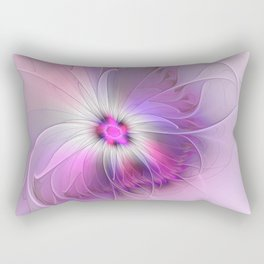 Abstract Flower With Pink And Purple Fractal Rectangular Pillow