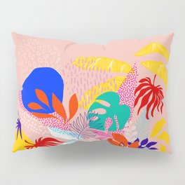 Keep Growing - Tropical plant on peach Pillow Sham
