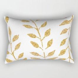 Gold Glitter Fronds Rectangular Pillow