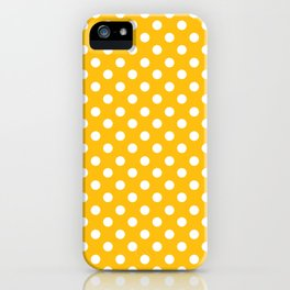 Amber Yellow and White Polka Dot Pattern iPhone Case