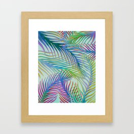 Palm Leaves Pattern - Blue, Purple, Green Framed Art Print