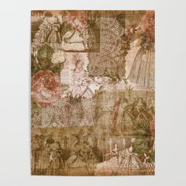 Vintage & Shabby Chic - Victorian ladies pattern Poster