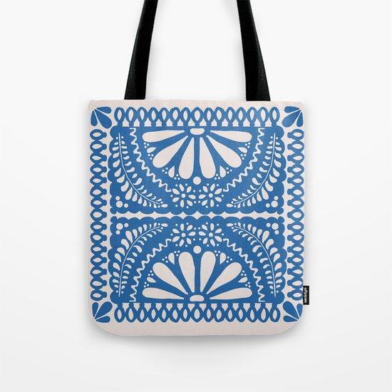 Fiesta de Flores Blue Tote Bag