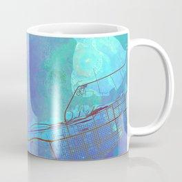 Galveston Texas Street Map Art Watercolor Blue Lagoon Coffee Mug