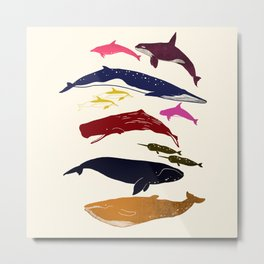Happy Whales Metal Print