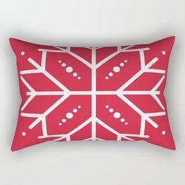 Snowflake - Red Rectangular Pillow