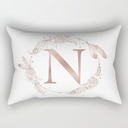 Letter N Rose Gold Pink Initial Monogram Rectangular Pillow