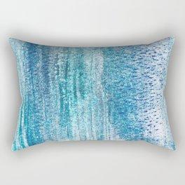 Aqua Blue Watercolor Print - Abstract Vertical Stripe Design Rectangular Pillow